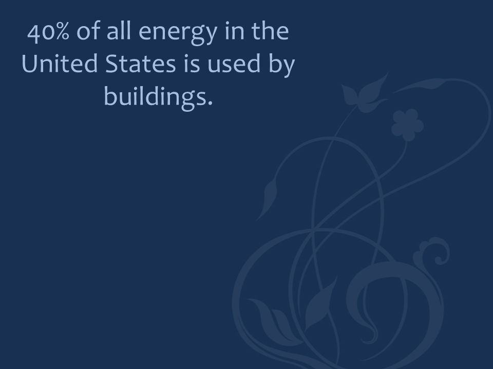 40% of all energy in the United States is used by buildings.