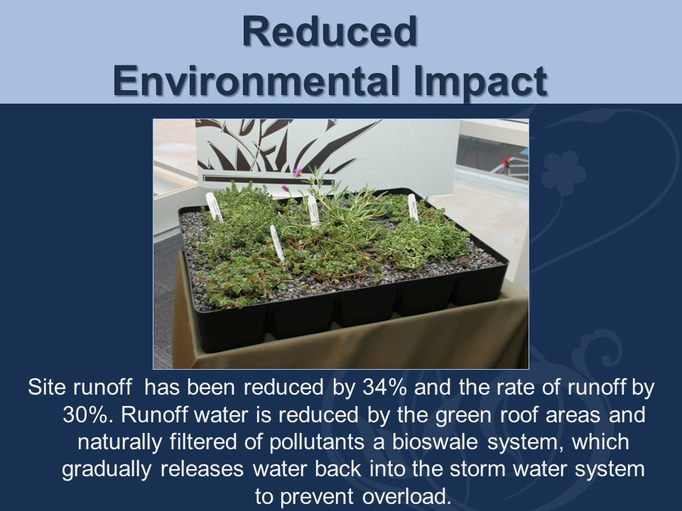 Reduced Environmental Impact Site runoff has been reduced by 34% and the rate of runoff by 30%. Runoff water is reduced by the green roof areas and na
