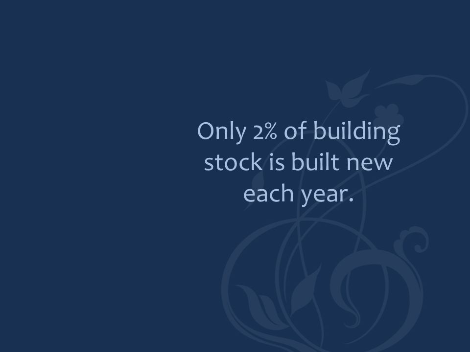 Only 2% of building stock is built new each year.