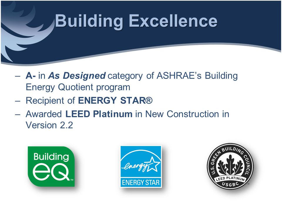 Transportation ASHRAE is actively encouraging alternative and fuel-efficient transportation means for its staff and guests: –on-site bike storage, showers and changing rooms –dedicated parking for low- emitting & fuel-efficient vehicles –more than 5% of parking spaces reserved for carpools