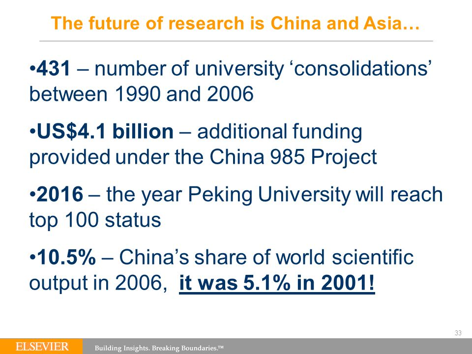 33 The future of research is China and Asia… 431 – number of university 'consolidations' between 1990 and 2006 US$4.1 billion – additional funding provided under the China 985 Project 2016 – the year Peking University will reach top 100 status 10.5% – China's share of world scientific output in 2006, it was 5.1% in 2001!