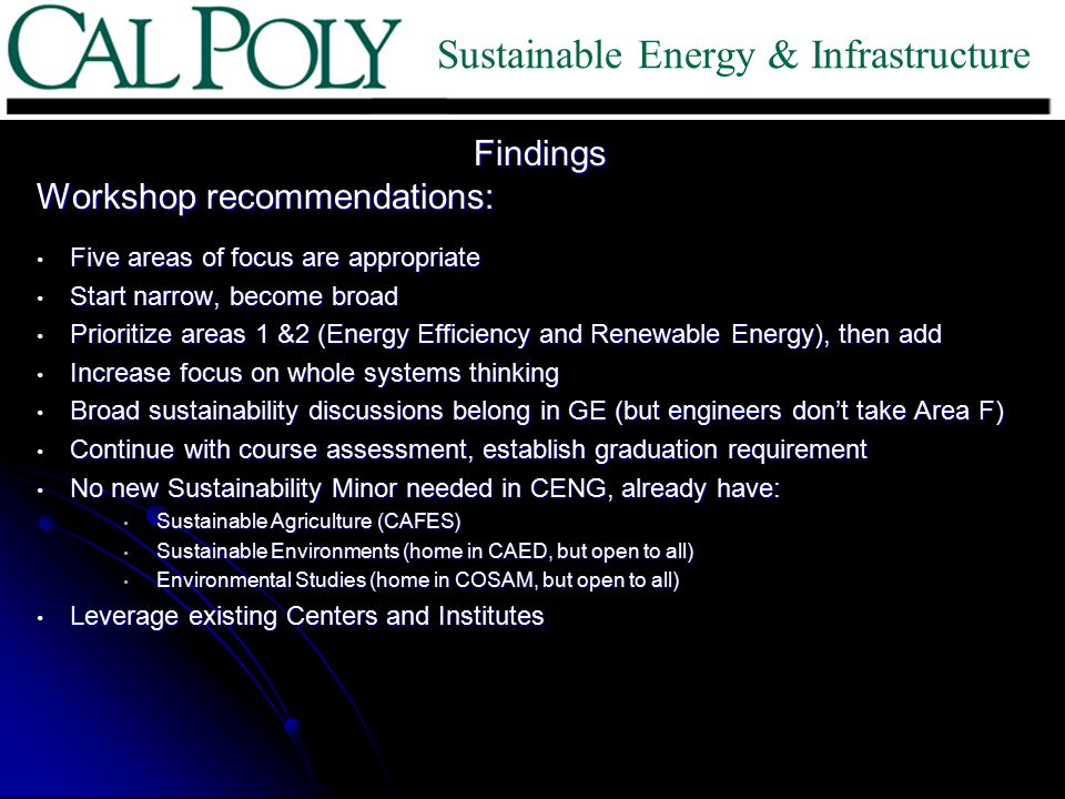 Findings Workshop recommendations: Five areas of focus are appropriate Five areas of focus are appropriate Start narrow, become broad Start narrow, become broad Prioritize areas 1 &2 (Energy Efficiency and Renewable Energy), then add Prioritize areas 1 &2 (Energy Efficiency and Renewable Energy), then add Increase focus on whole systems thinking Increase focus on whole systems thinking Broad sustainability discussions belong in GE (but engineers don't take Area F) Broad sustainability discussions belong in GE (but engineers don't take Area F) Continue with course assessment, establish graduation requirement Continue with course assessment, establish graduation requirement No new Sustainability Minor needed in CENG, already have: No new Sustainability Minor needed in CENG, already have: Sustainable Agriculture (CAFES) Sustainable Agriculture (CAFES) Sustainable Environments (home in CAED, but open to all) Sustainable Environments (home in CAED, but open to all) Environmental Studies (home in COSAM, but open to all) Environmental Studies (home in COSAM, but open to all) Leverage existing Centers and Institutes Leverage existing Centers and Institutes Sustainable Energy & Infrastructure