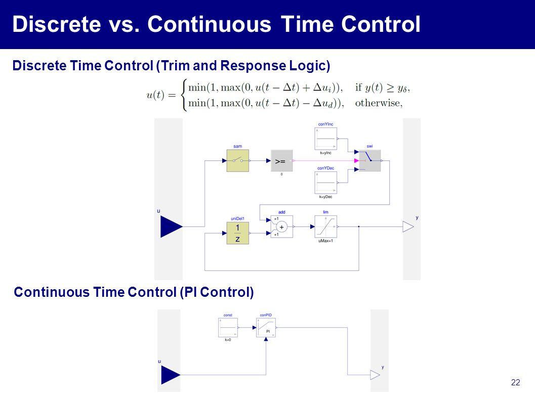 Discrete vs. Continuous Time Control 22 Discrete Time Control (Trim and Response Logic) Continuous Time Control (PI Control)