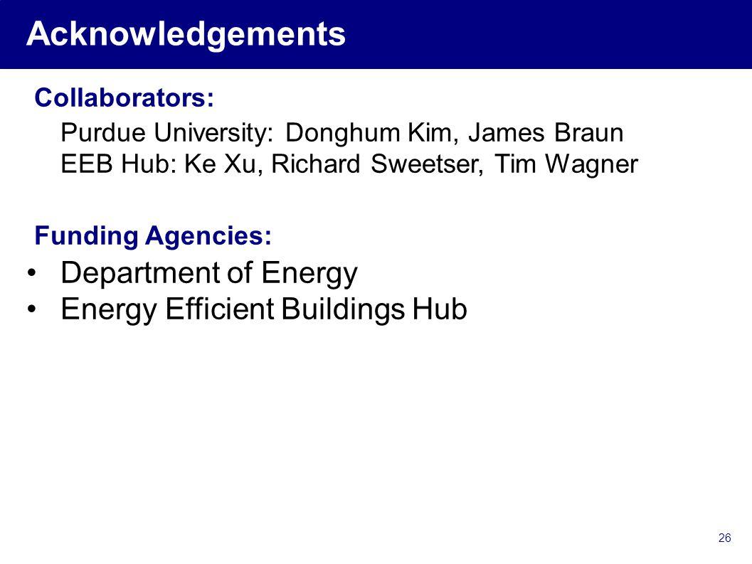 Acknowledgements Collaborators: Purdue University: Donghum Kim, James Braun EEB Hub: Ke Xu, Richard Sweetser, Tim Wagner Funding Agencies: Department of Energy Energy Efficient Buildings Hub 26