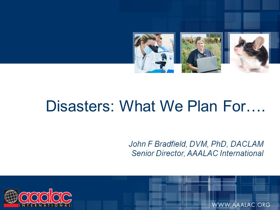 Disasters: What We Plan For…. John F Bradfield, DVM, PhD, DACLAM Senior Director, AAALAC International