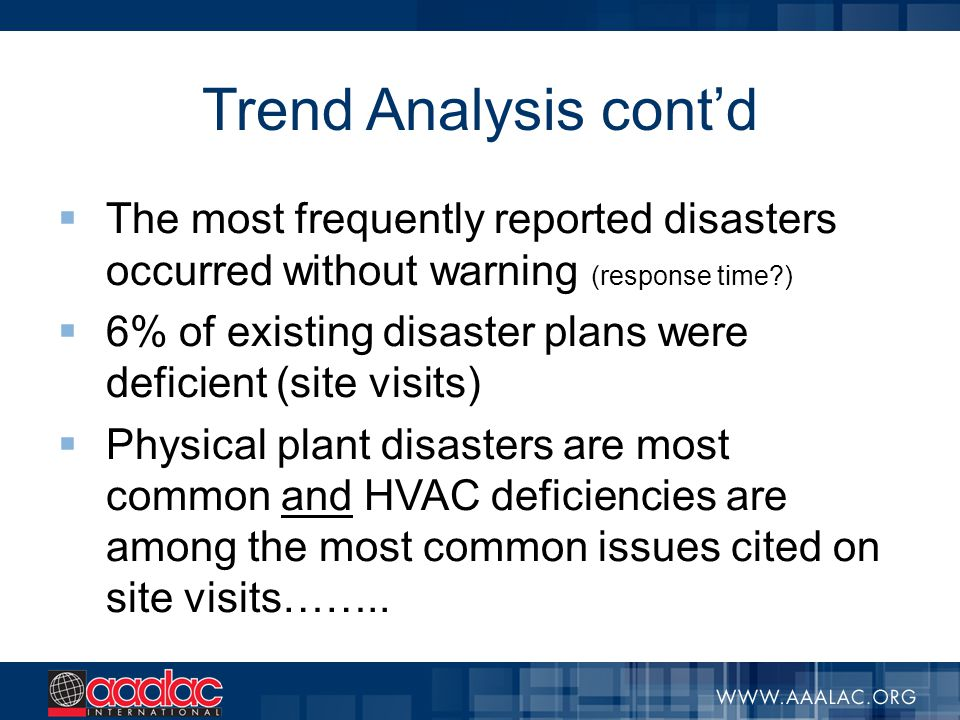 Trend Analysis cont'd  The most frequently reported disasters occurred without warning (response time?)  6% of existing disaster plans were deficien