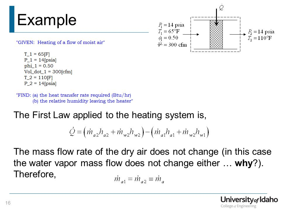 Example 16 The First Law applied to the heating system is, The mass flow rate of the dry air does not change (in this case the water vapor mass flow does not change either … why?).