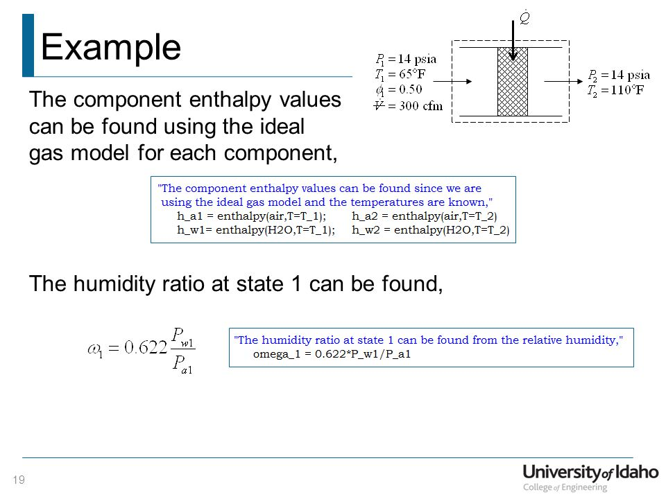Example 19 The component enthalpy values can be found using the ideal gas model for each component, The humidity ratio at state 1 can be found,