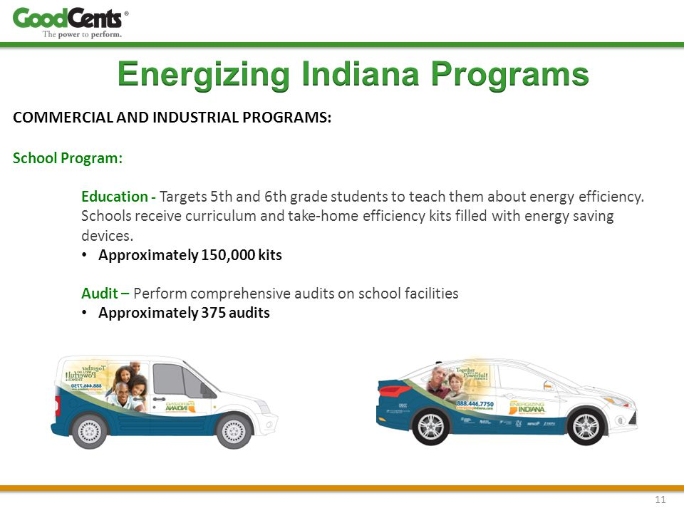 11 COMMERCIAL AND INDUSTRIAL PROGRAMS: School Program: Education - Targets 5th and 6th grade students to teach them about energy efficiency.