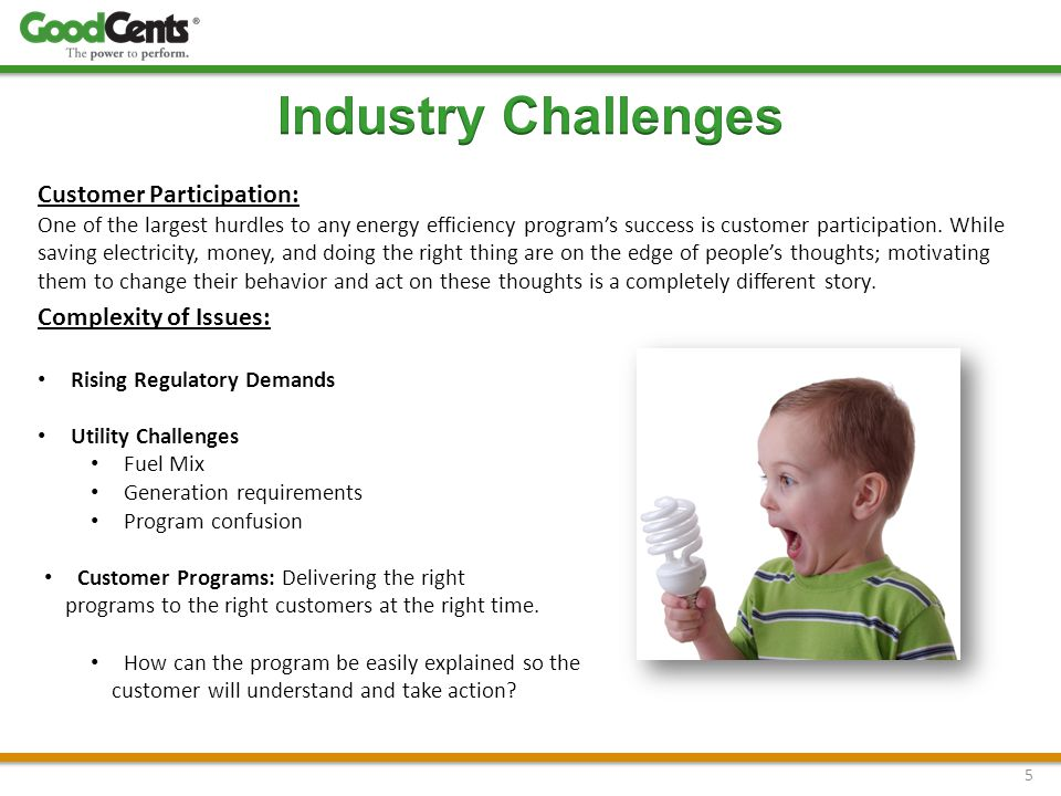 5 Customer Participation: One of the largest hurdles to any energy efficiency program's success is customer participation.