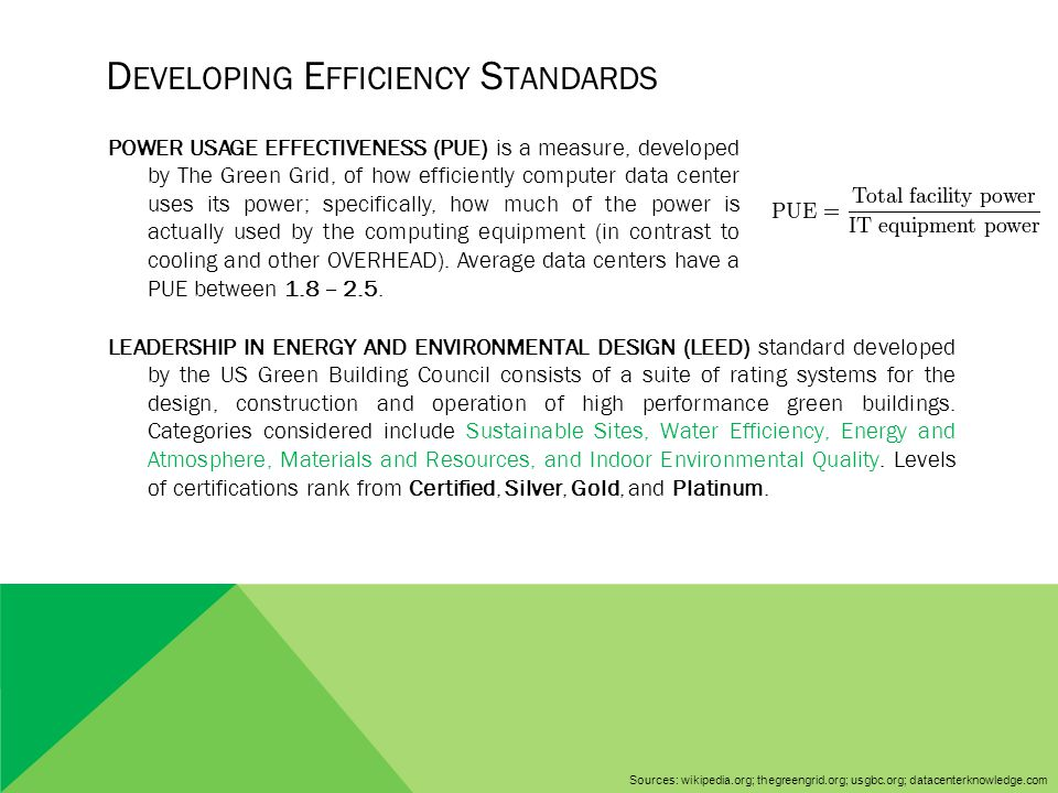 D EVELOPING E FFICIENCY S TANDARDS LEADERSHIP IN ENERGY AND ENVIRONMENTAL DESIGN (LEED) standard developed by the US Green Building Council consists o