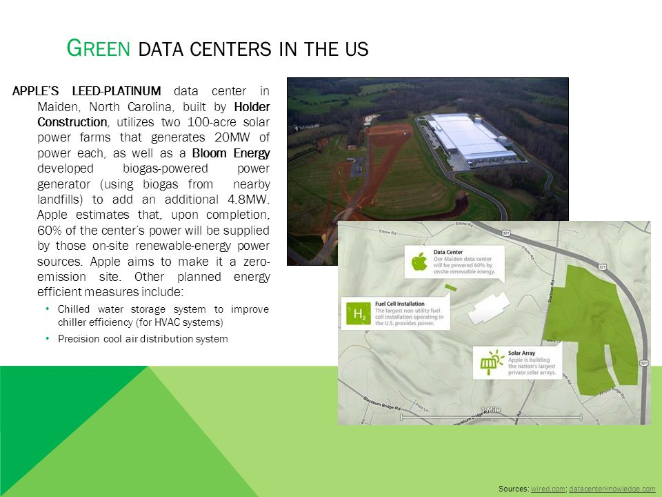 APPLE'S LEED-PLATINUM data center in Maiden, North Carolina, built by Holder Construction, utilizes two 100-acre solar power farms that generates 20MW