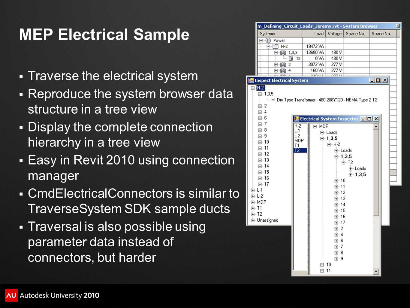 MEP Electrical Sample  Traverse the electrical system  Reproduce the system browser data structure in a tree view  Display the complete connection