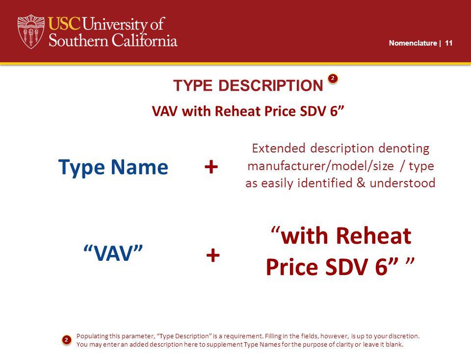 Nomenclature | 11 TYPE DESCRIPTION VAV with Reheat Price SDV 6 Extended description denoting manufacturer/model/size / type as easily identified & understood with Reheat Price SDV 6 Type Name + VAV + Populating this parameter, Type Description is a requirement.