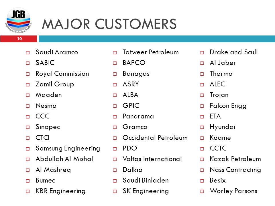 MAJOR CUSTOMERS 10  Saudi Aramco  SABIC  Royal Commission  Zamil Group  Maaden  Nesma  CCC  Sinopec  CTCI  Samsung Engineering  Abdullah Al