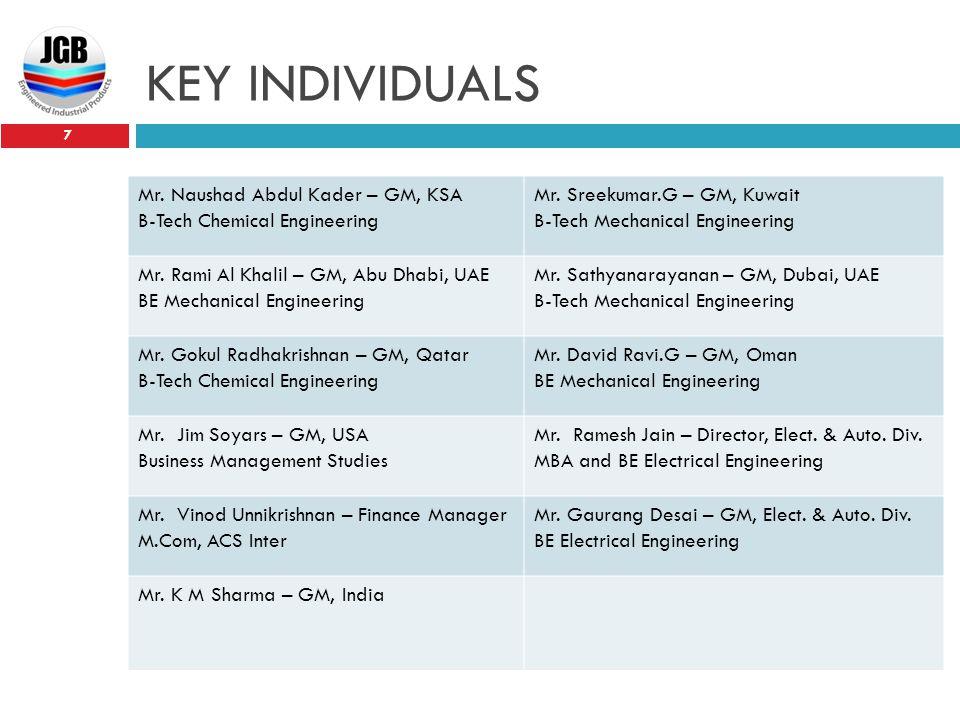 KEY INDIVIDUALS 7 Mr. Naushad Abdul Kader – GM, KSA B-Tech Chemical Engineering Mr. Sreekumar.G – GM, Kuwait B-Tech Mechanical Engineering Mr. Rami Al