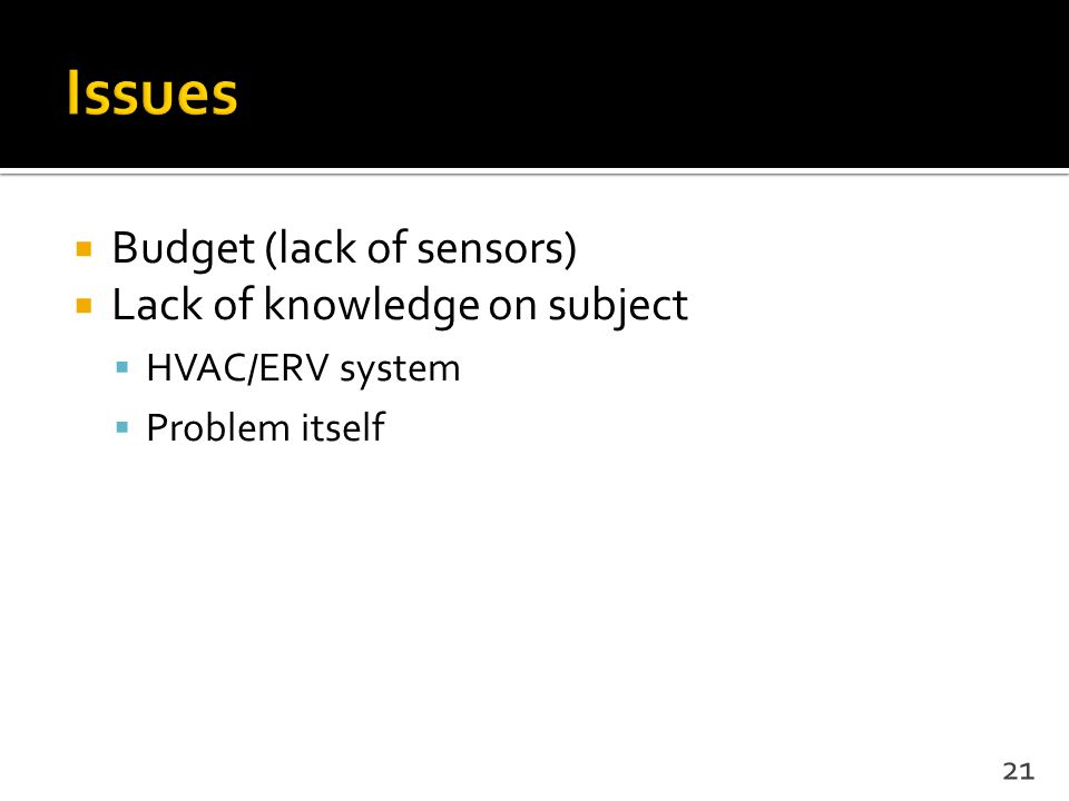 Budget (lack of sensors)  Lack of knowledge on subject  HVAC/ERV system  Problem itself 21