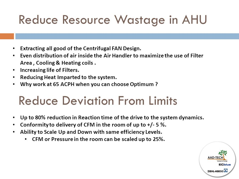 Reduce Resource Wastage in AHU Reduce Deviation From Limits Extracting all good of the Centrifugal FAN Design.