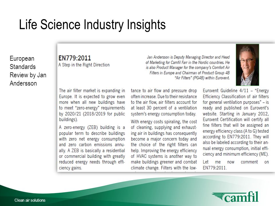 Clean air solutions Life Science Industry Insights European Standards Review by Jan Andersson