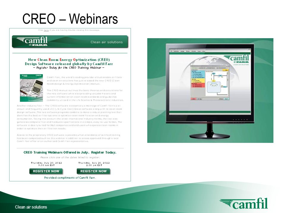 Clean air solutions CREO – Webinars