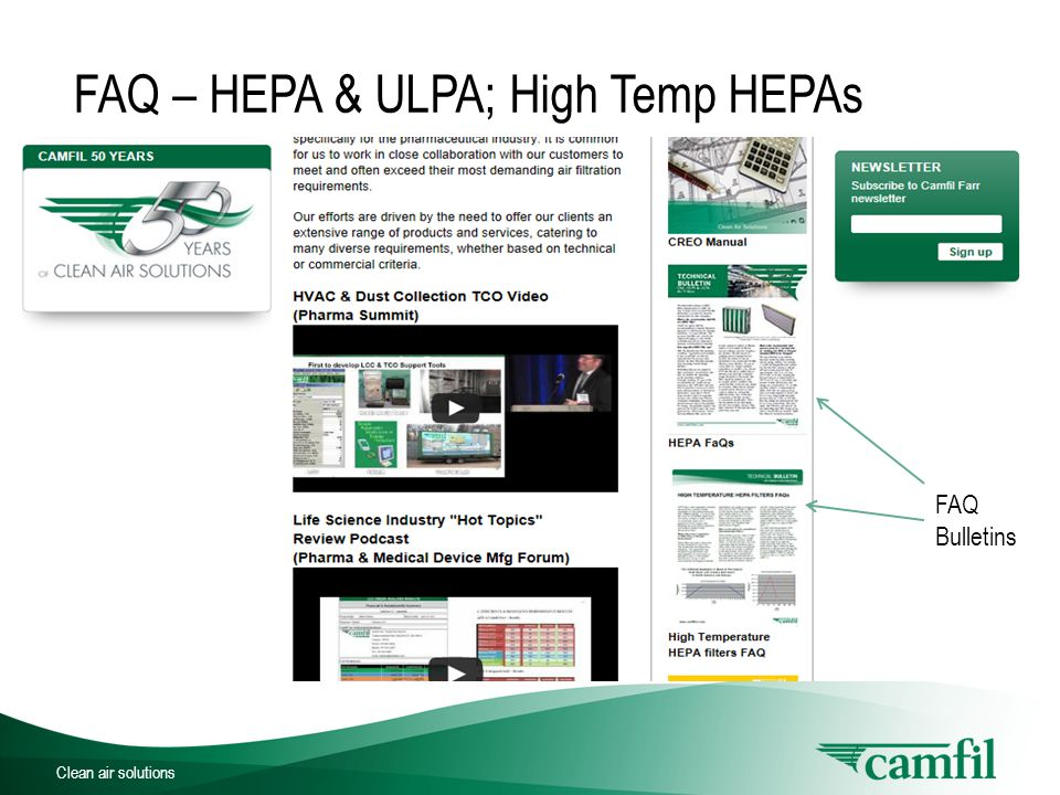 Clean air solutions FAQ Bulletins FAQ – HEPA & ULPA; High Temp HEPAs