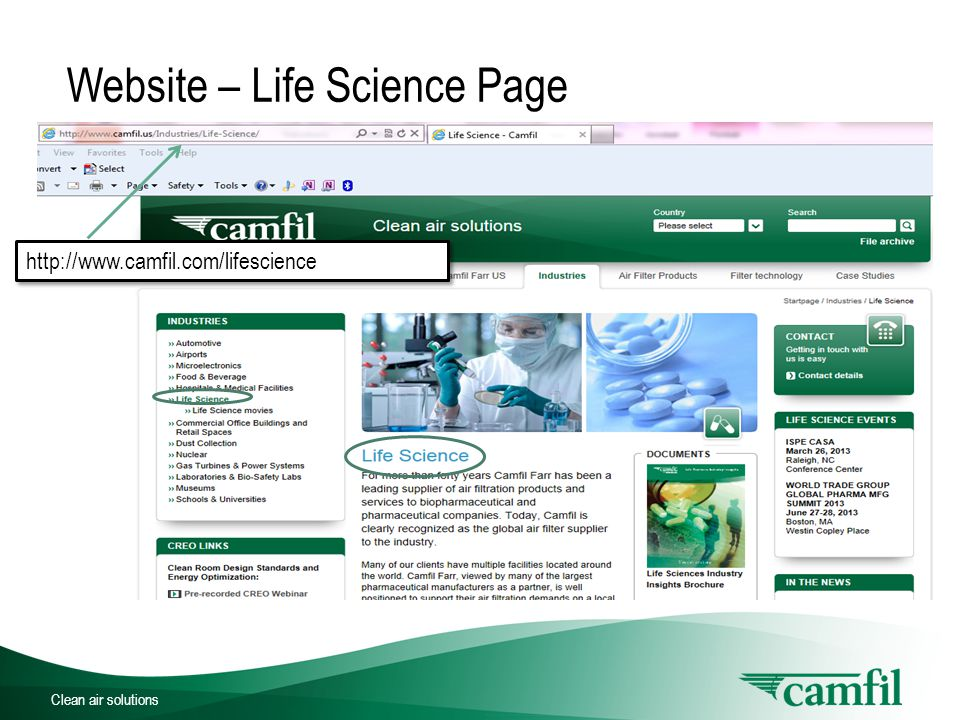 Clean air solutions Website – Life Science Page http://www.camfil.com/lifescience http://www.camfil.com/lifescience