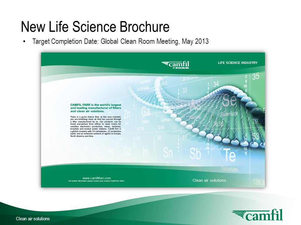 Clean air solutions New Life Science Brochure Life Science Centerfold with 50 Year Anniversary Focus on Outside