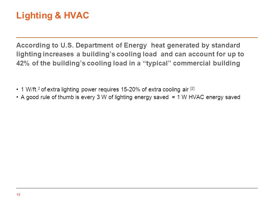 15 Lighting & HVAC According to U.S.