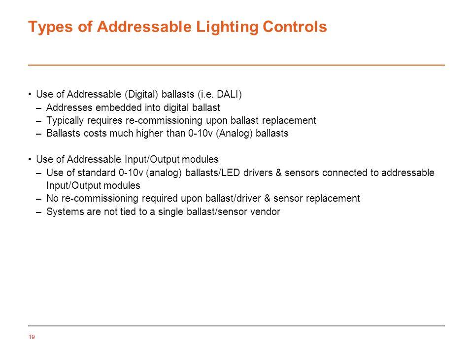 19 Types of Addressable Lighting Controls Use of Addressable (Digital) ballasts (i.e.