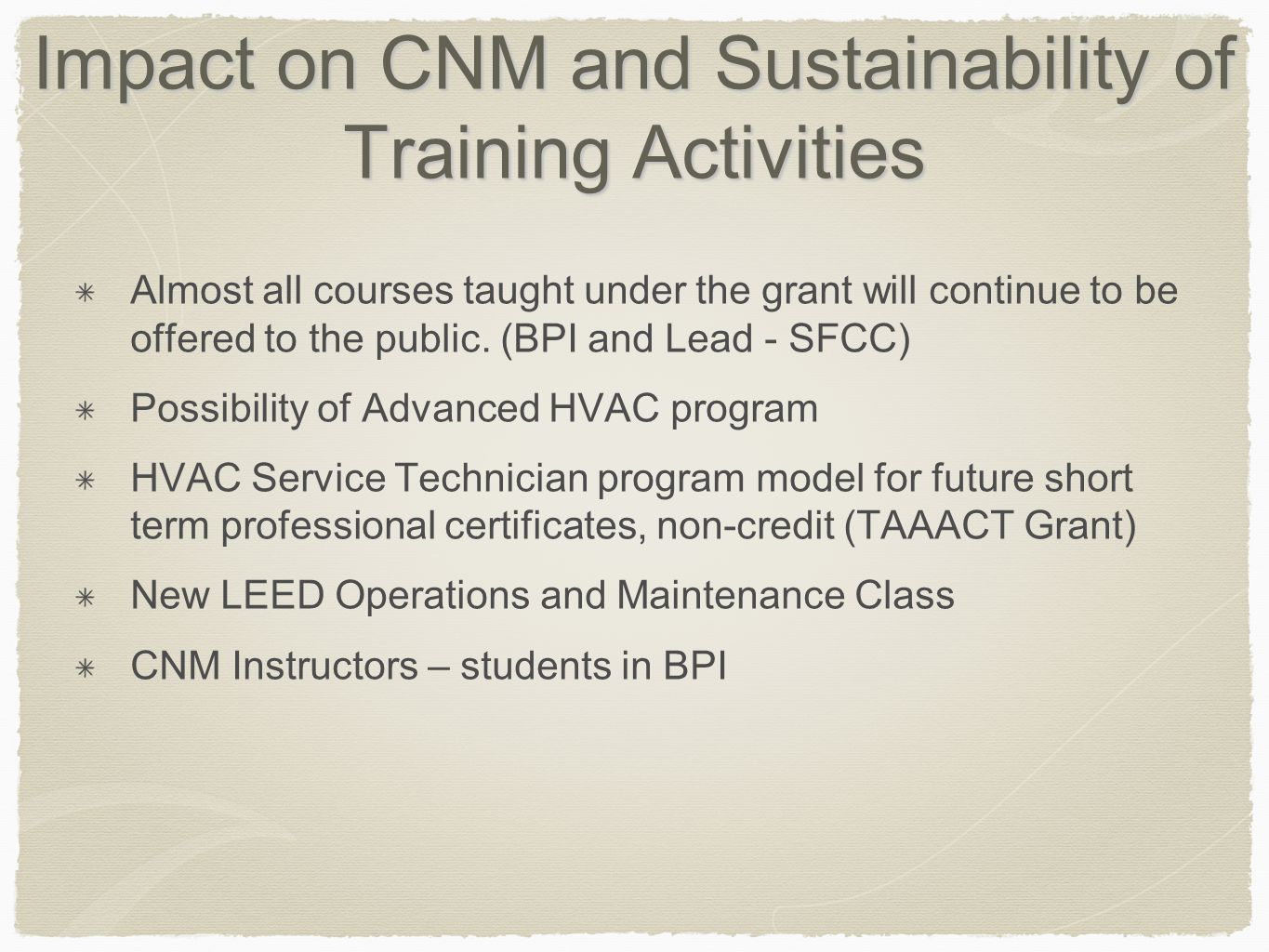 Impact on CNM and Sustainability of Training Activities Almost all courses taught under the grant will continue to be offered to the public.