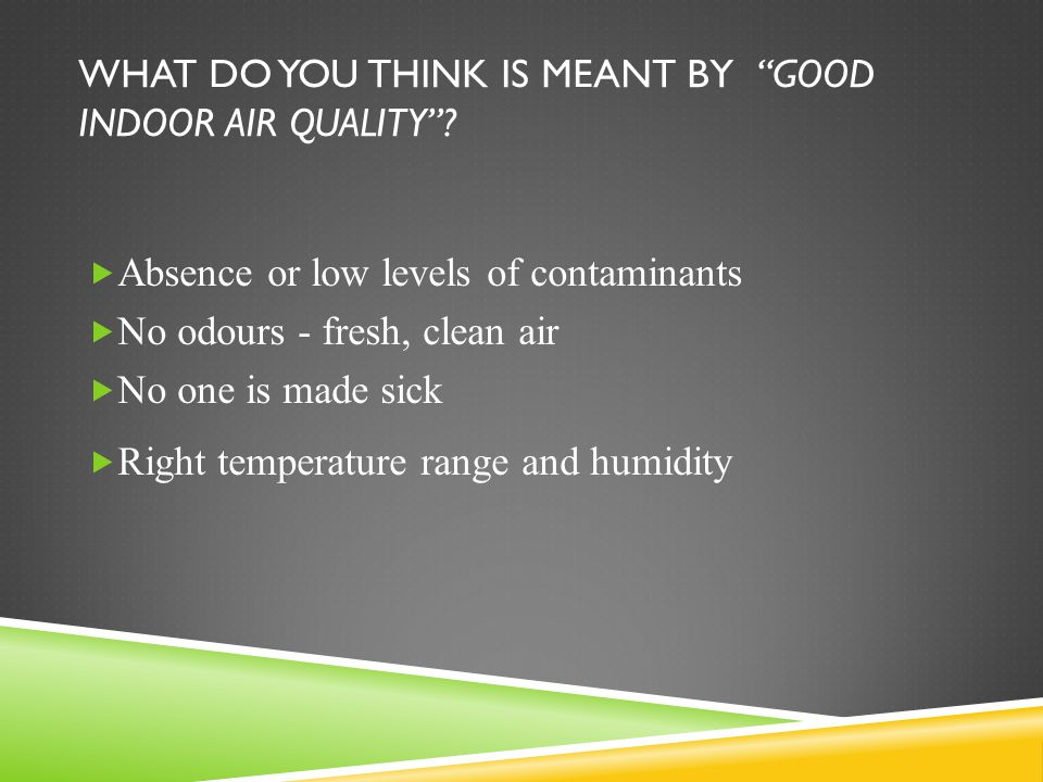WHAT DO YOU THINK IS MEANT BY GOOD INDOOR AIR QUALITY .