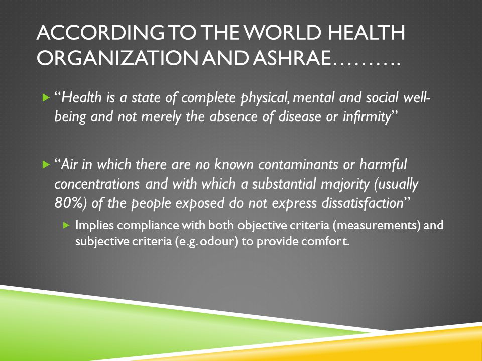 ACCORDING TO THE WORLD HEALTH ORGANIZATION AND ASHRAE……….