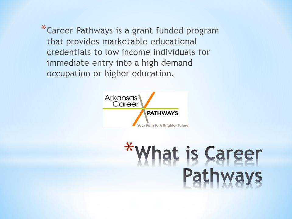 * Career Pathways is a grant funded program that provides marketable educational credentials to low income individuals for immediate entry into a high demand occupation or higher education.