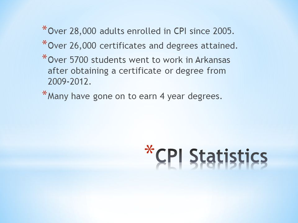 * Over 28,000 adults enrolled in CPI since 2005. * Over 26,000 certificates and degrees attained.