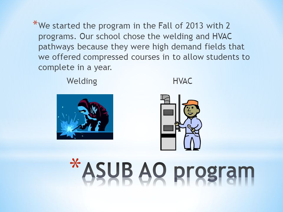 * We started the program in the Fall of 2013 with 2 programs.