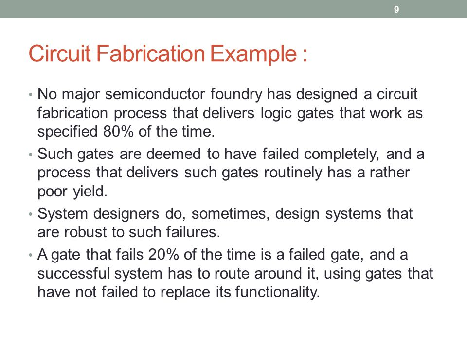 Circuit Fabrication Example : cont.