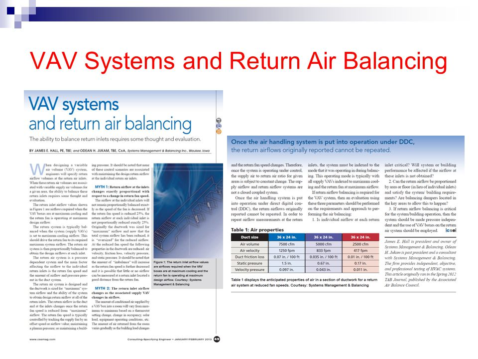 VAV Systems and Return Air Balancing