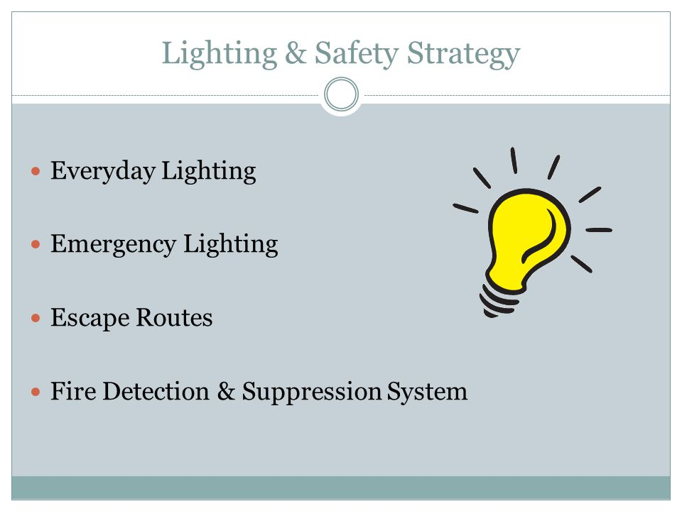 Lighting & Safety Strategy Everyday Lighting Emergency Lighting Escape Routes Fire Detection & Suppression System