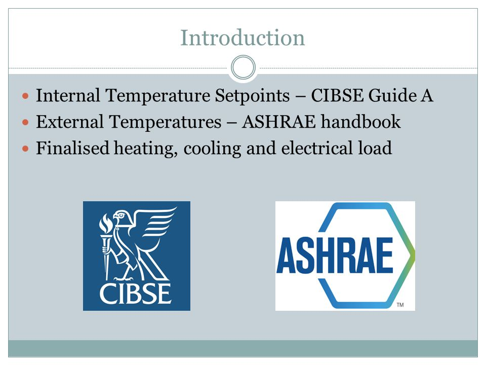 Introduction Internal Temperature Setpoints – CIBSE Guide A External Temperatures – ASHRAE handbook Finalised heating, cooling and electrical load
