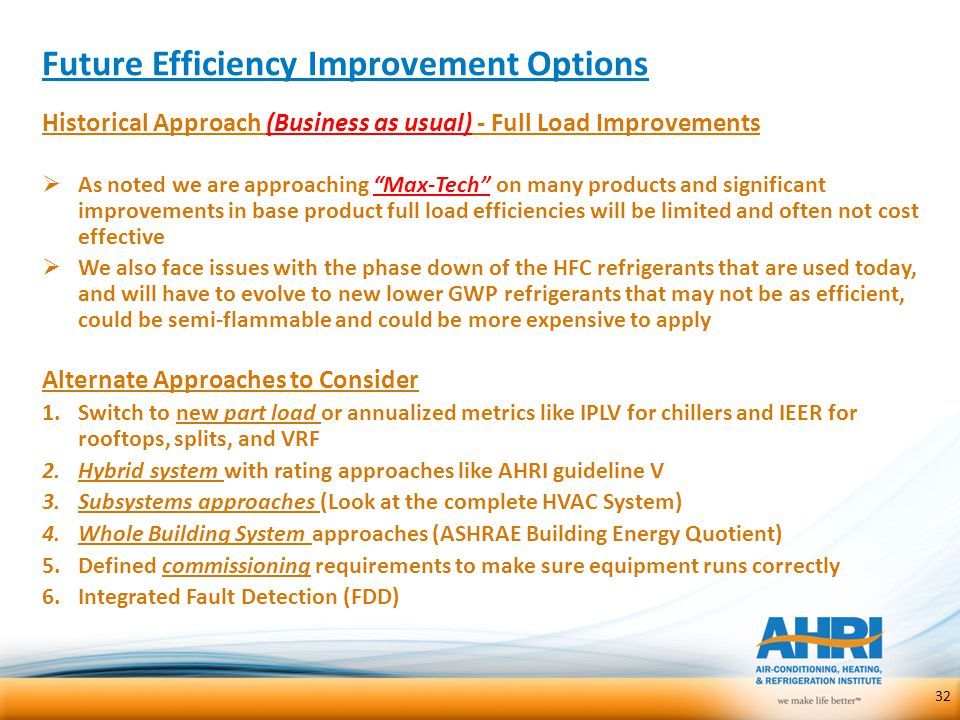 "Future Efficiency Improvement Options 32 Historical Approach (Business as usual) - Full Load Improvements  As noted we are approaching ""Max-Tech"" on"