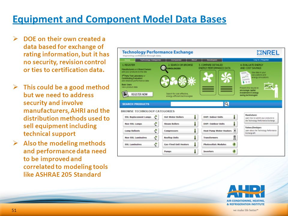 Equipment and Component Model Data Bases  DOE on their own created a data based for exchange of rating information, but it has no security, revision