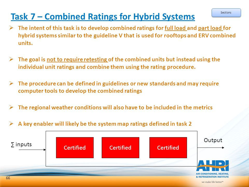 Task 7 – Combined Ratings for Hybrid Systems  The intent of this task is to develop combined ratings for full load and part load for hybrid systems s
