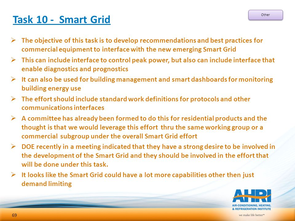 Task 10 - Smart Grid  The objective of this task is to develop recommendations and best practices for commercial equipment to interface with the new