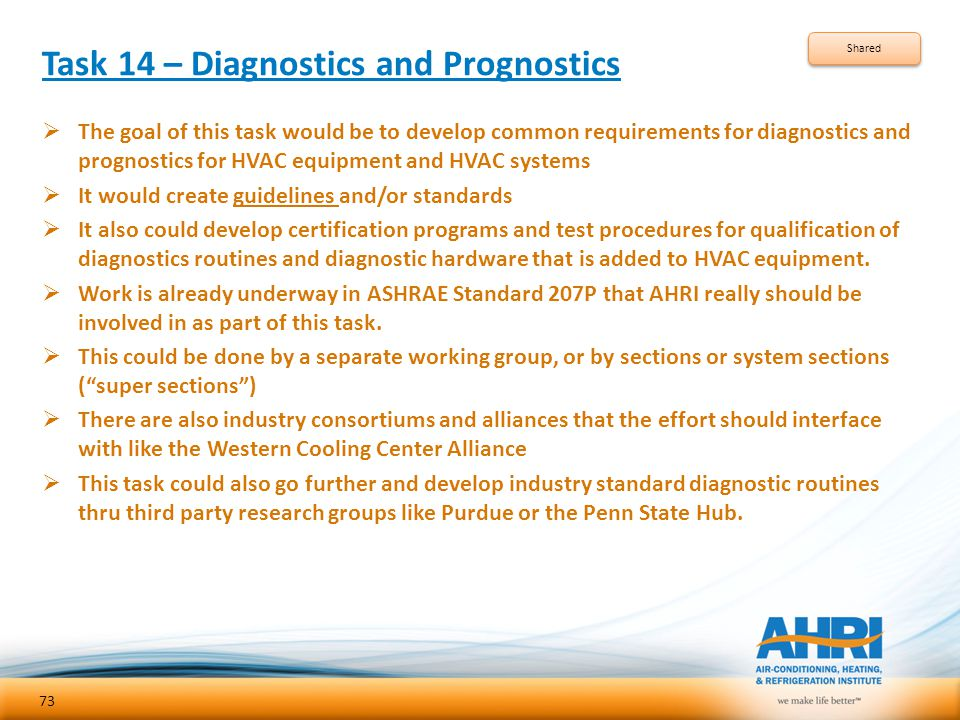 Task 14 – Diagnostics and Prognostics  The goal of this task would be to develop common requirements for diagnostics and prognostics for HVAC equipme