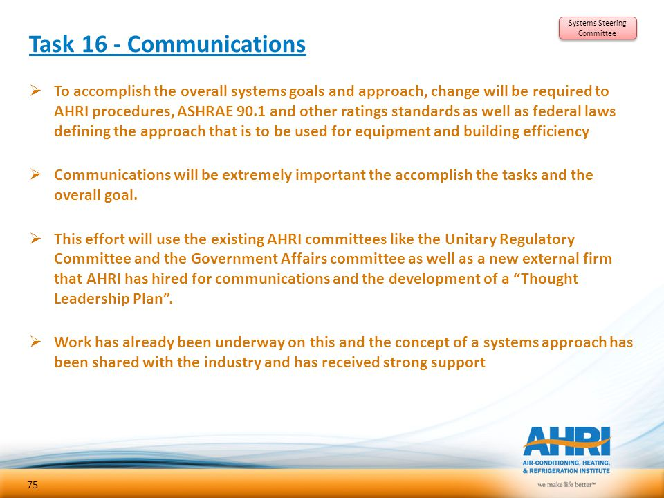 Task 16 - Communications  To accomplish the overall systems goals and approach, change will be required to AHRI procedures, ASHRAE 90.1 and other rat