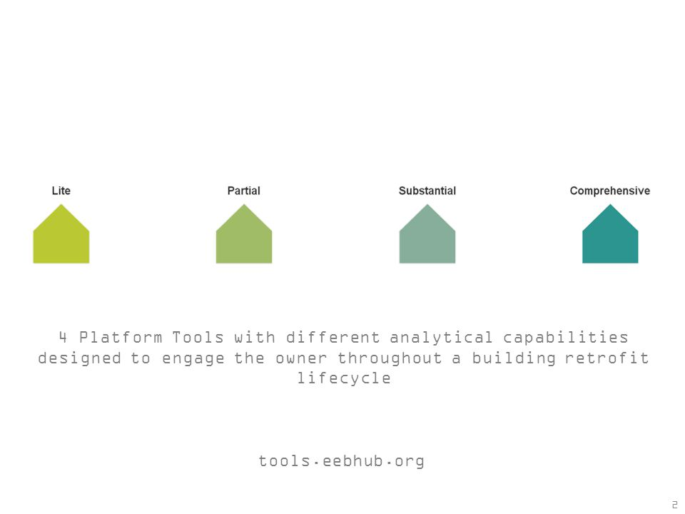 2 4 Platform Tools with different analytical capabilities designed to engage the owner throughout a building retrofit lifecycle tools.eebhub.org