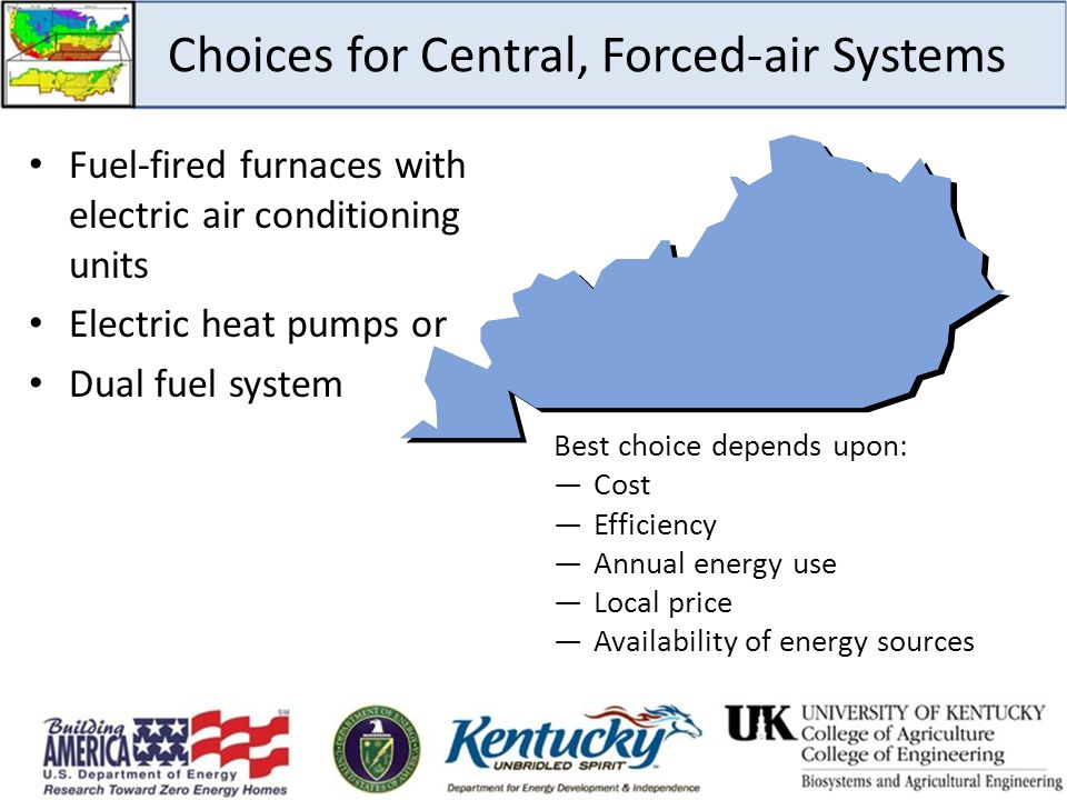 Choices for Central, Forced-air Systems Fuel-fired furnaces with electric air conditioning units Electric heat pumps or Dual fuel system Best choice d