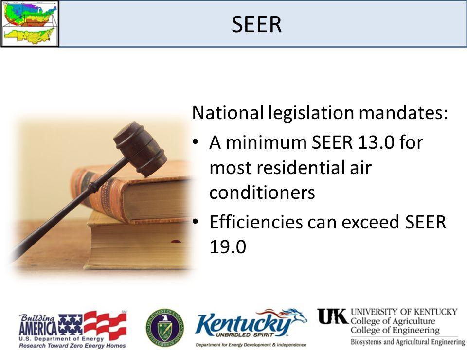SEER National legislation mandates: A minimum SEER 13.0 for most residential air conditioners Efficiencies can exceed SEER 19.0