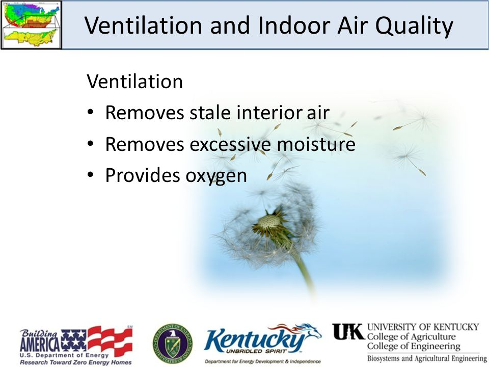 Ventilation and Indoor Air Quality Ventilation Removes stale interior air Removes excessive moisture Provides oxygen