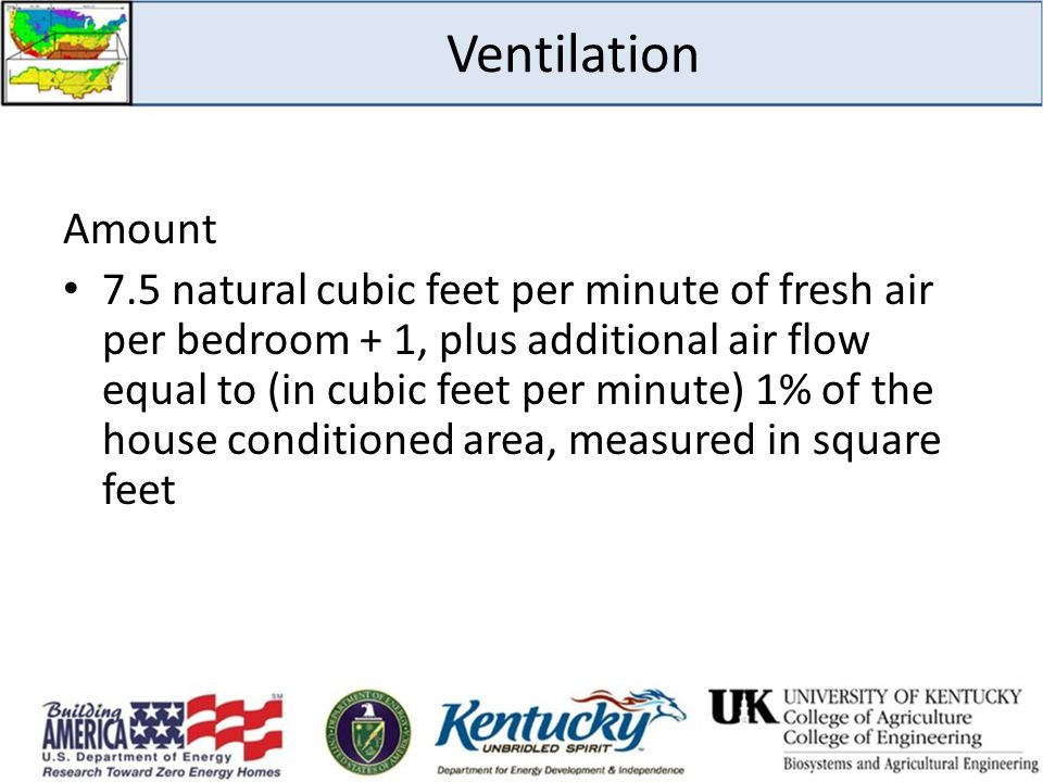 Amount 7.5 natural cubic feet per minute of fresh air per bedroom + 1, plus additional air flow equal to (in cubic feet per minute) 1% of the house co